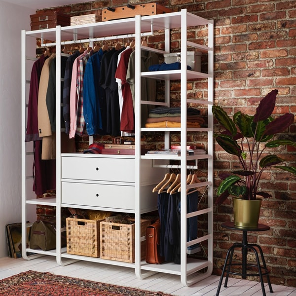 ELVARLI wardrobe with three sections in white.