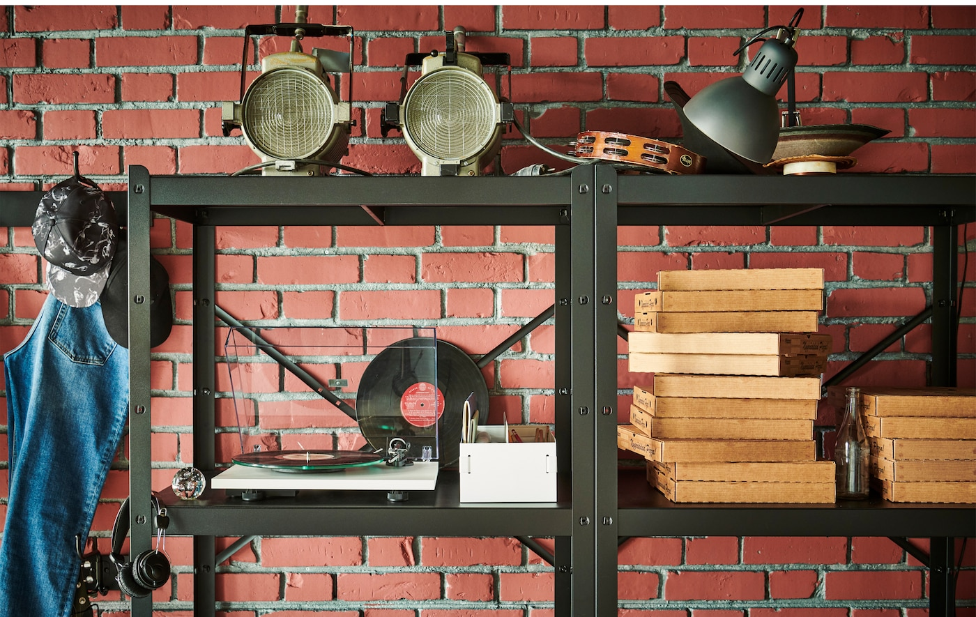 Empty pizza cartons and more conventional stored items alike fit well in the sturdy, spacious BROR shelving units.