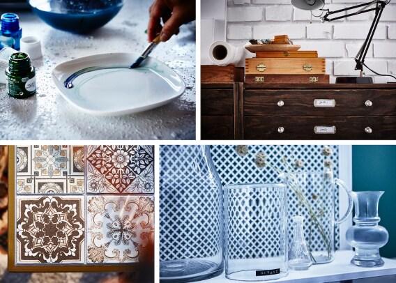 En collage af forskellige IKEA hacks