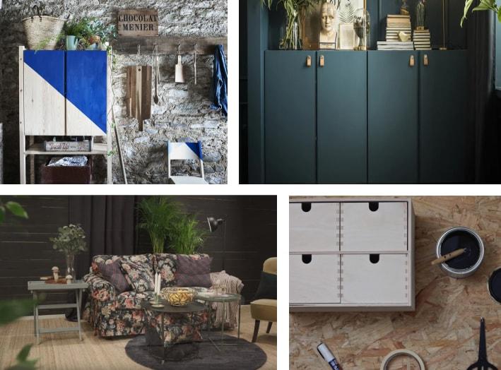 En collage af forskellige IKEA varer, der har fået nyt liv
