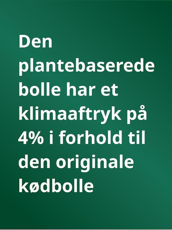 En grøn baggrund med teksten: Den plantebaserede bolle har et klimaaftryk på 4% i forhold til den originale kødbolle
