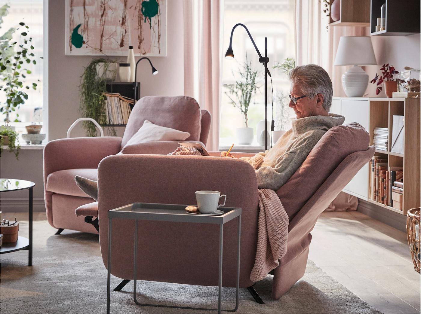 EKOLSUND Vilfåtölj, Gunnared ljus brunrosa IKEA