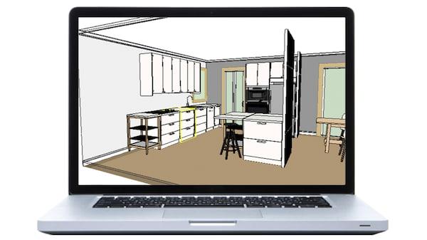 En laptop med IKEA Home planner.