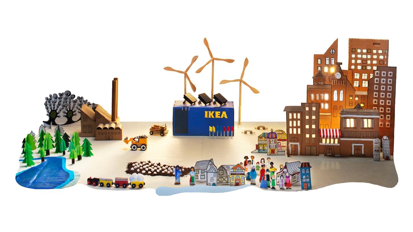 En tegning av et IKEA-varehus med natur og mennesker rundt.