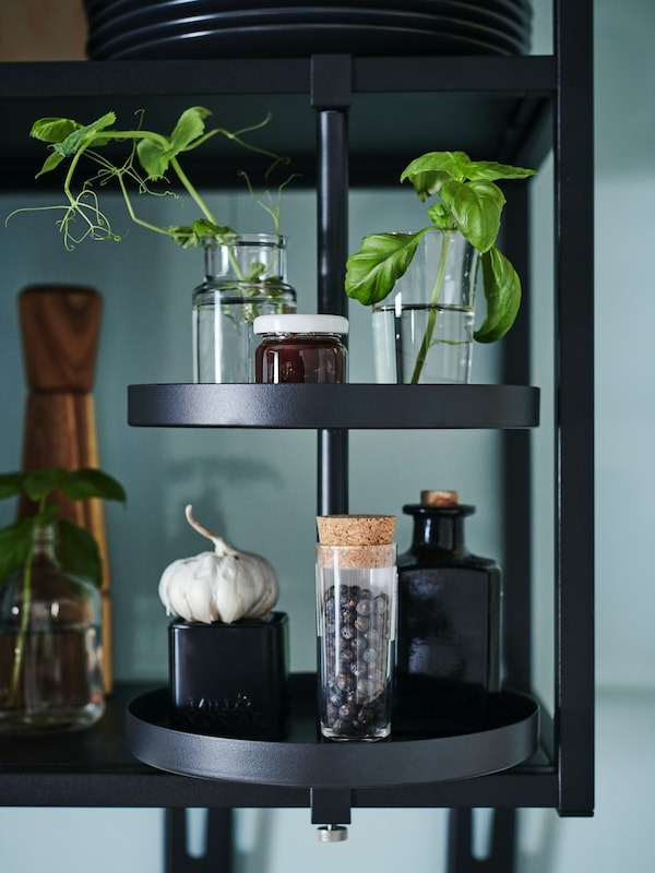 ENHET Küche - moderne Küchenregal in schwarz