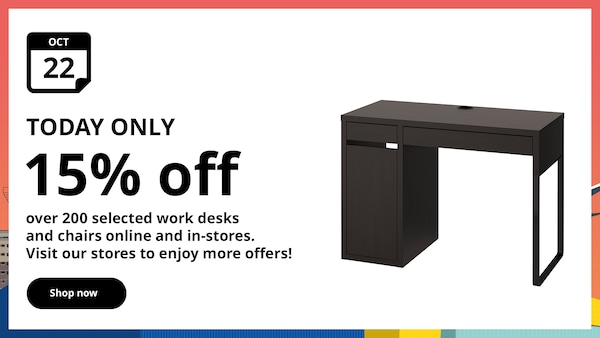 Enjoy 15% off selected furniture range daily on selected products.