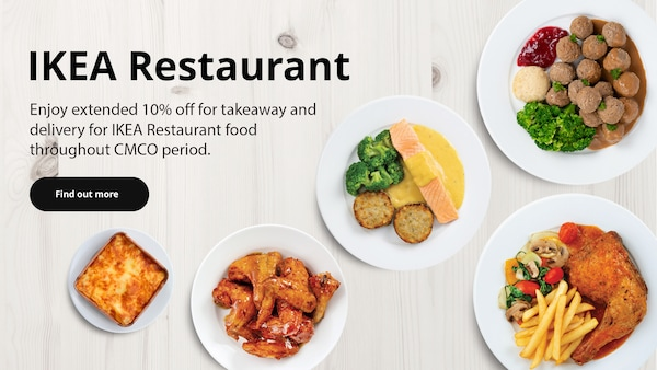 Enjoy extended 10% off for takeaway and delivery for IKEA food