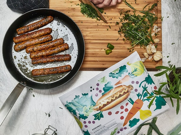Enjoy our KORVMOJ veggie dogs at home. Available in the Swedish Food Market, $5.99 with 10 veggie dogs per package.