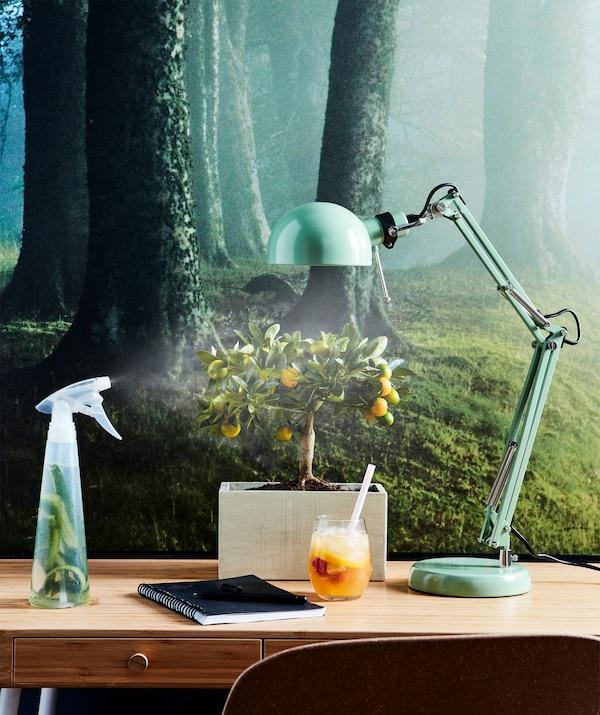 Erfrischendes Gesichtsspray gefällig? Mische dir einfach deine Wahl von Kräutern in einer Sprühflasche mit kaltem Wasser. Hier ist u. a. FORSÅ Arbeitsleuchte in Grün zu sehen.