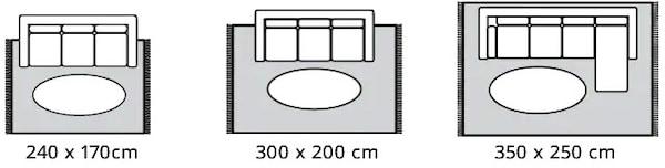 Erikokoisia mattovaihtoehtoja myös suuremmille sohville.