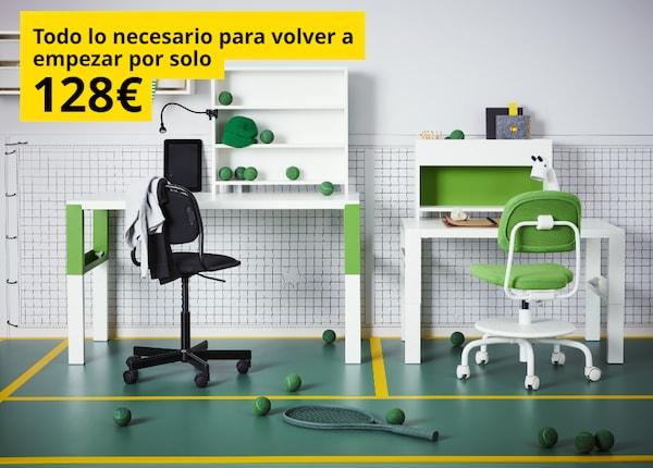 Escritorio blanco y verde, silla de escritorio verde