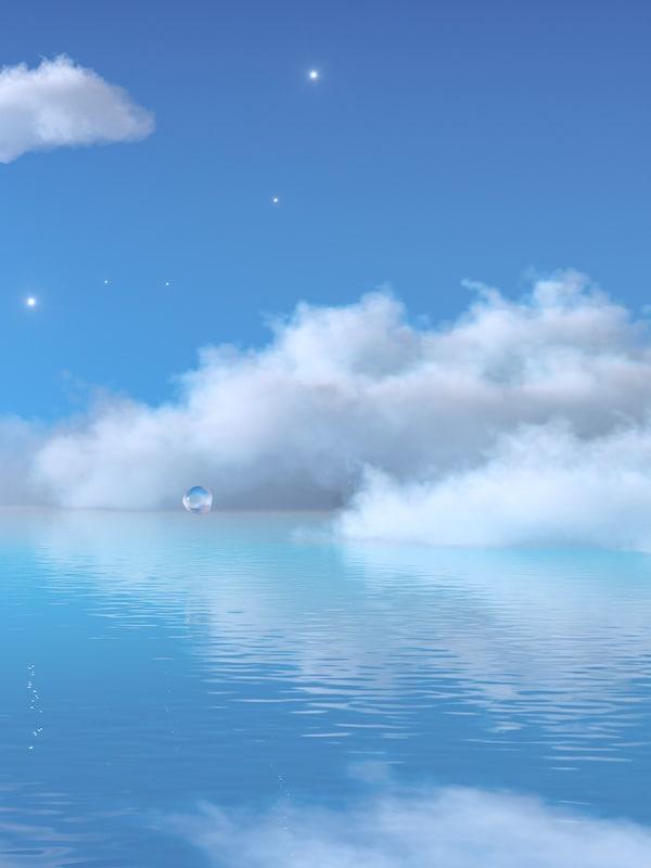 Estrelas e esponxosas nubes brancas nun ceo azul sobre un mar de auga clara que ondea suavemente.