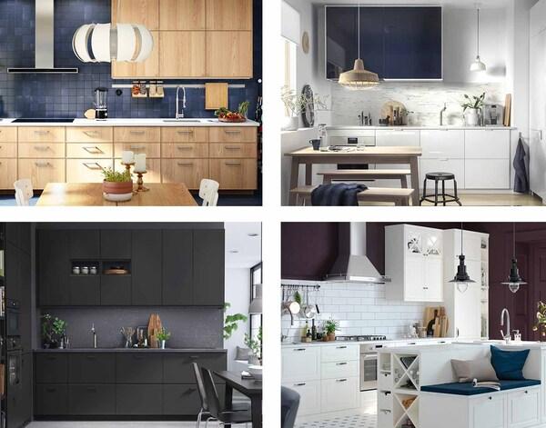 Et billede med fire køkkener for at vise de forskellige design.