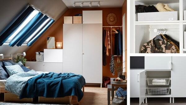 Et garderobeskab i forskellige højder med lysegrå og hvide døre, der står i et soveværelse under en skråvæg.