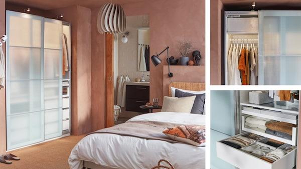 Et garderobeskab med skydedøre af frosted glas står i et soveværelse med rosa vandskurede vægge.