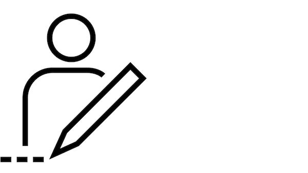 Et ikon af en person med en linial