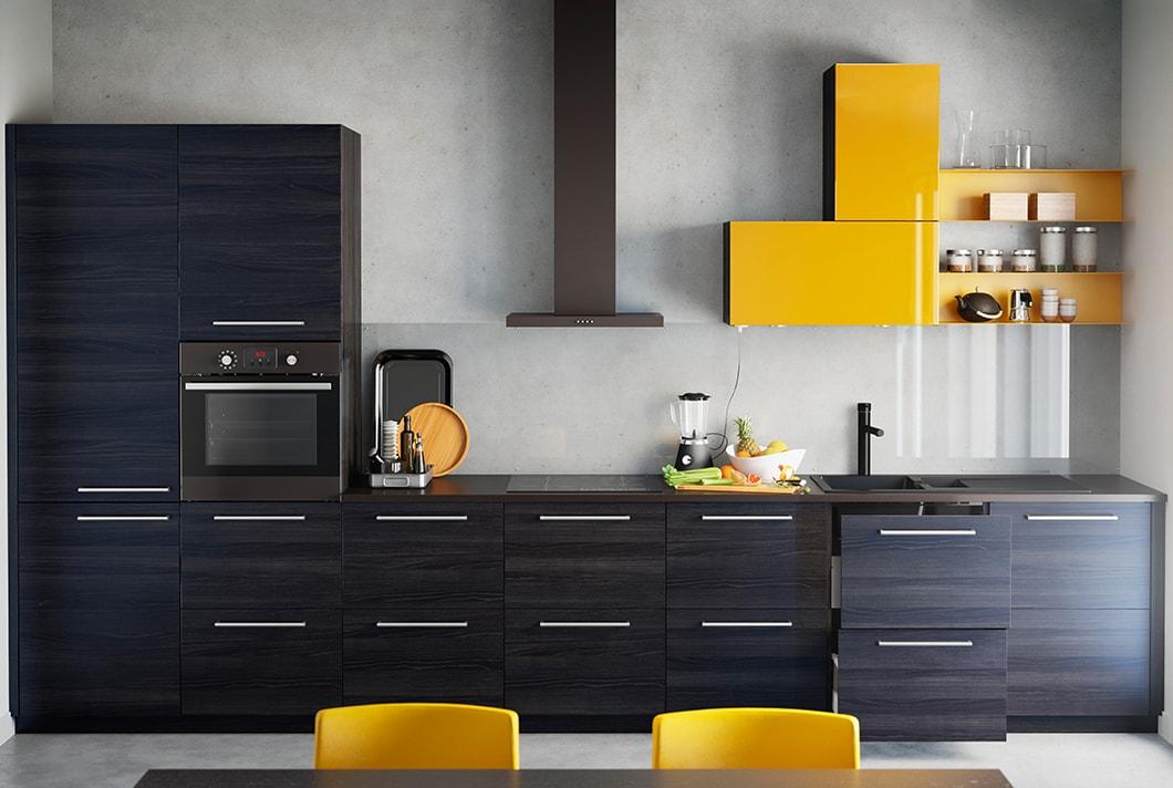 Et miljøvenligt køkken i sort og gul