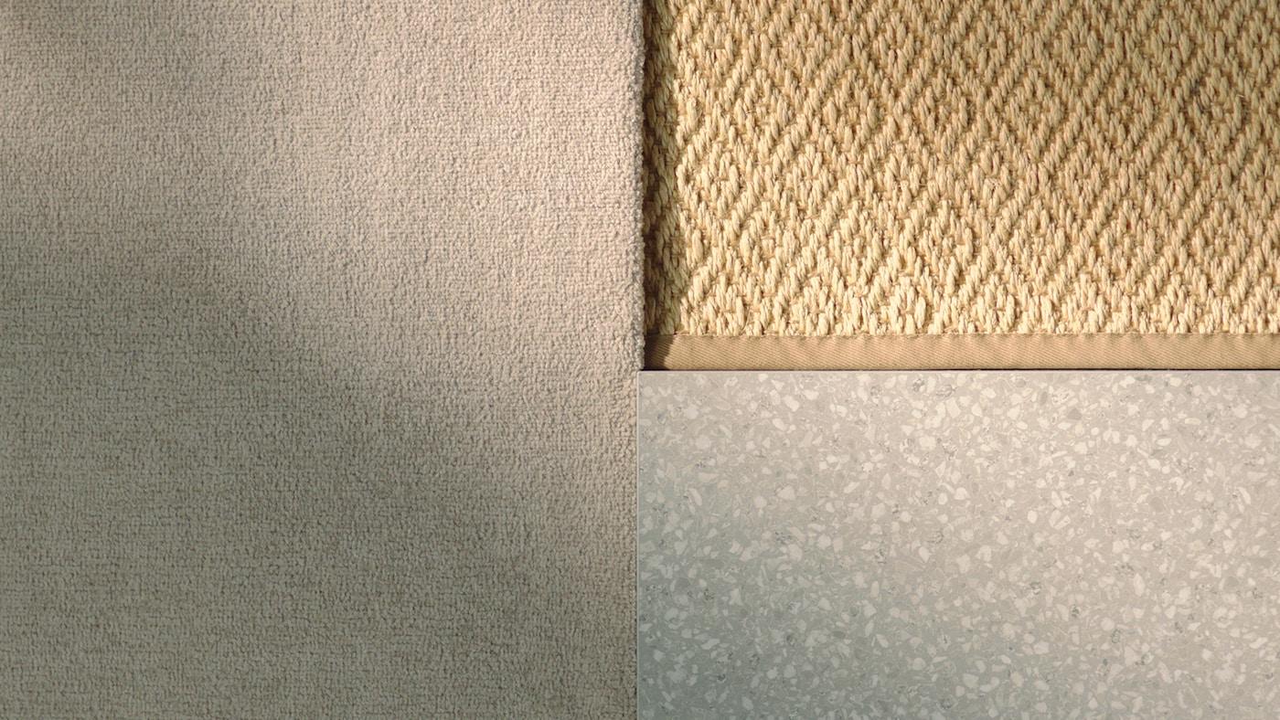 Etxea altzariz janzteko produktuetako beix eta zuri koloreko hiru material, diseinu angeluzuzen batean ipinita.