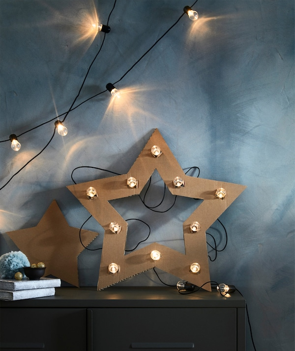 Even simple DIY-crafts become wall-worthy when decorated with IKEA BLÖTSNÖ LED lighting chain.