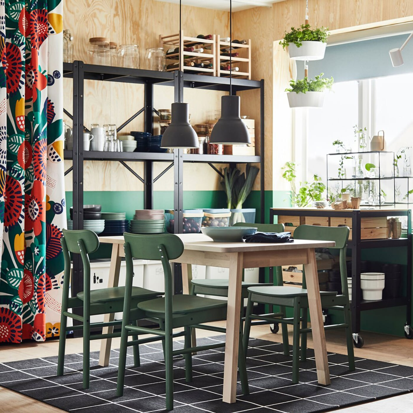 Freestanding Storage In An Flower Powered Dining Area