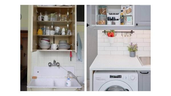 wygląd kuchni przed i po.