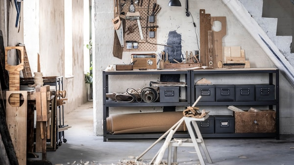 Organized workspace with tools and storage