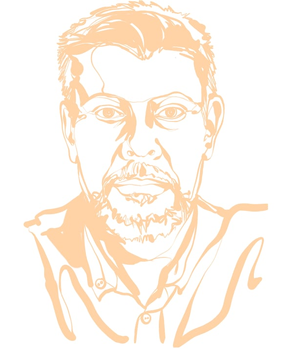 Face-focused sketch of IKEA Global Wood Supply Forestry Manager, Ulf Johansson: hint of a smile, short hair.