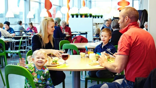 Family eating at IKEA Restaurant
