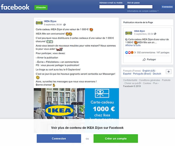 fausse page facebook IKEA septembre 2019