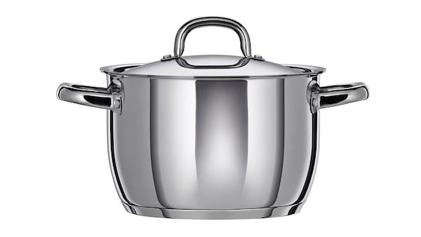 Stainless steel pot with lid on a white background