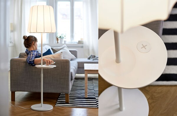 Female lounging on sofa while placing her cell phone onto a wireless charging station (left). Close up of integratied wirelss charching station on an IKEA floor lamp (right).