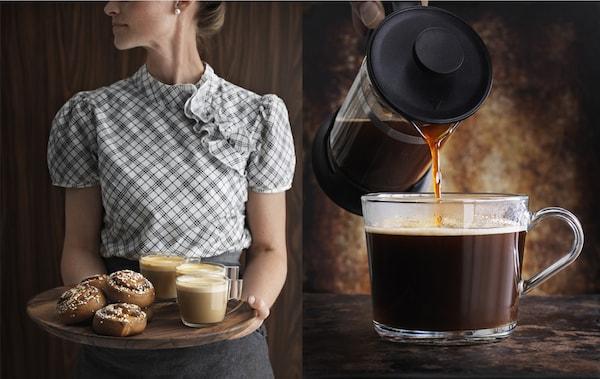 Femme tenant en main un plateau avec des brioches à la cannelle et du café et gros plan de café en train d'être versé dans une tasse en verre.