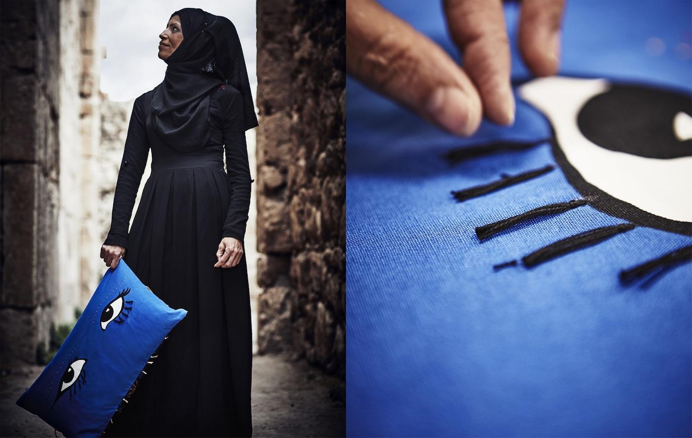 Femme tenant un coussin bleu orné d'un motif d'œil et gros plan du motif d'œil décoré de glands.