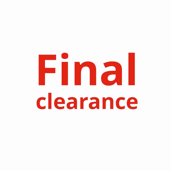 Final clearance on white background with red text