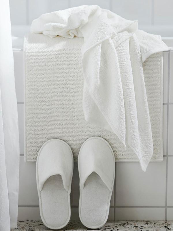"""FINTSEN Tapis de bain, blanc 16x24 """" (40x60 cm)"""