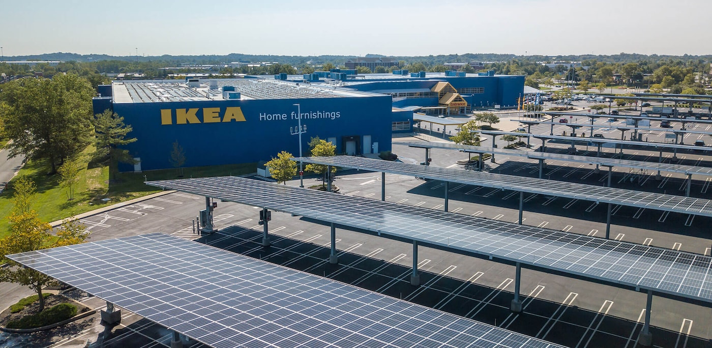 First solar car park in IKEA Baltimore parking lot