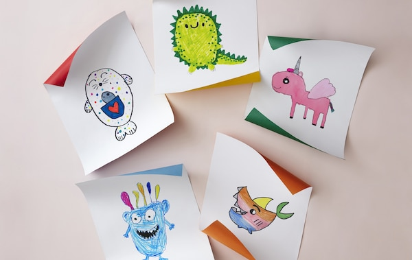 Five colorful children's drawings of imaginary creatures.