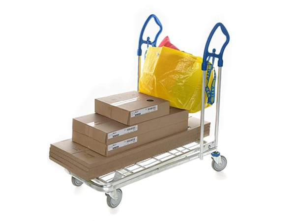 Flat cart with boxes and yellow bag
