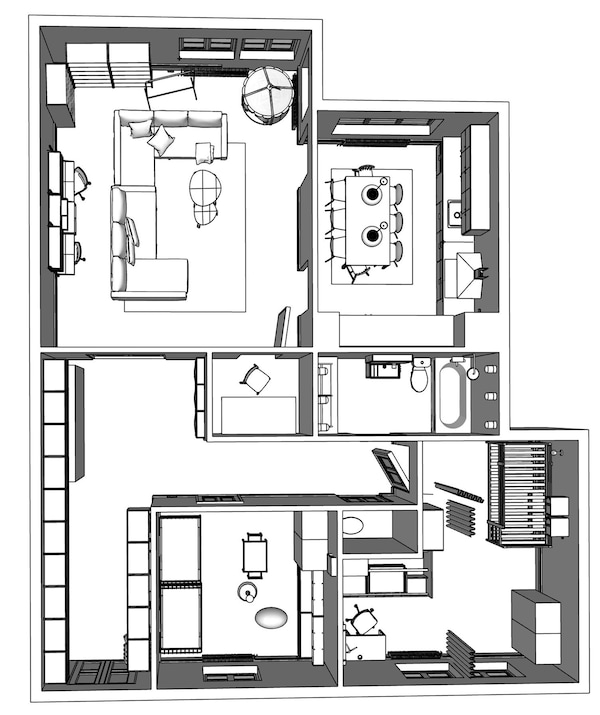 Floorplan of a model two-bedroom apartment.