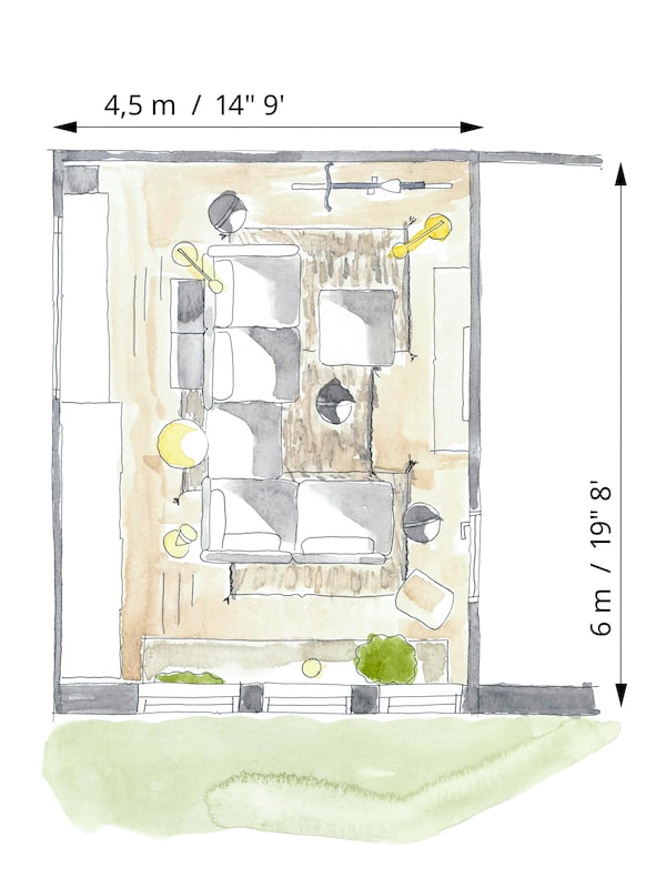 Floorplan sketch of a one-room apartment, which shows the layout of a large VALLENTUNA modular sofa for living/sleeping.
