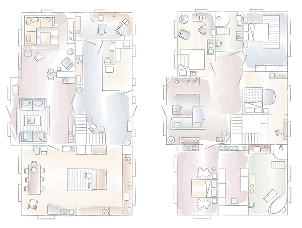 Floorplan to Gina's home in Norway.