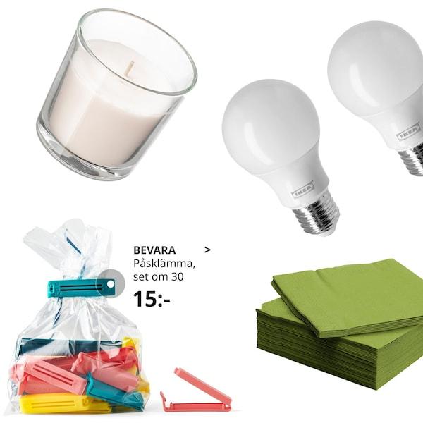 Flygande produkter så som gröna FANTASTISK servetter, BEVARA klämmor, led lampor och SINNLIG doftljus.