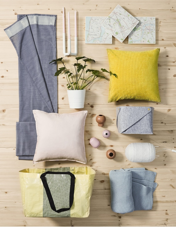 For pastel room decor, IKEA has options like square GULLKLOCKA cushion cover in soft, yellow chenille. Its bright pop of colour adds a contrast to clean whites and light pinks, blues and greys on cushion covers, curtains, vases, plant pots and more.