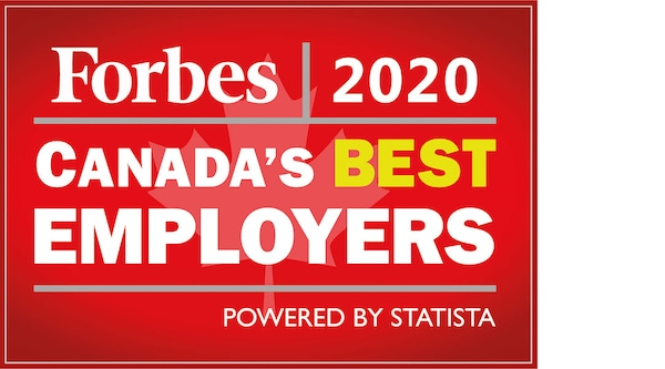 Forbe's 2020 Canada's best emplyer award