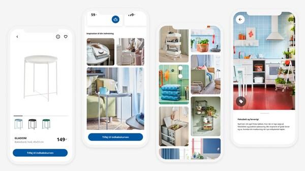 Forskellige billeder af IKEA Appen