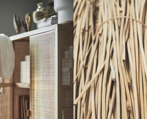 Foto partida que muestra una colección de fibras de ratán naturales y un armario con puertas de ratán IKEA STOCKHOLM 2017.