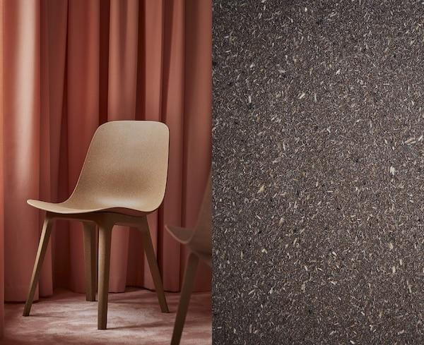 Foto partida que muestra una silla de comedor ODGER con forma redondeada y un primer plano de material compuesto natural.
