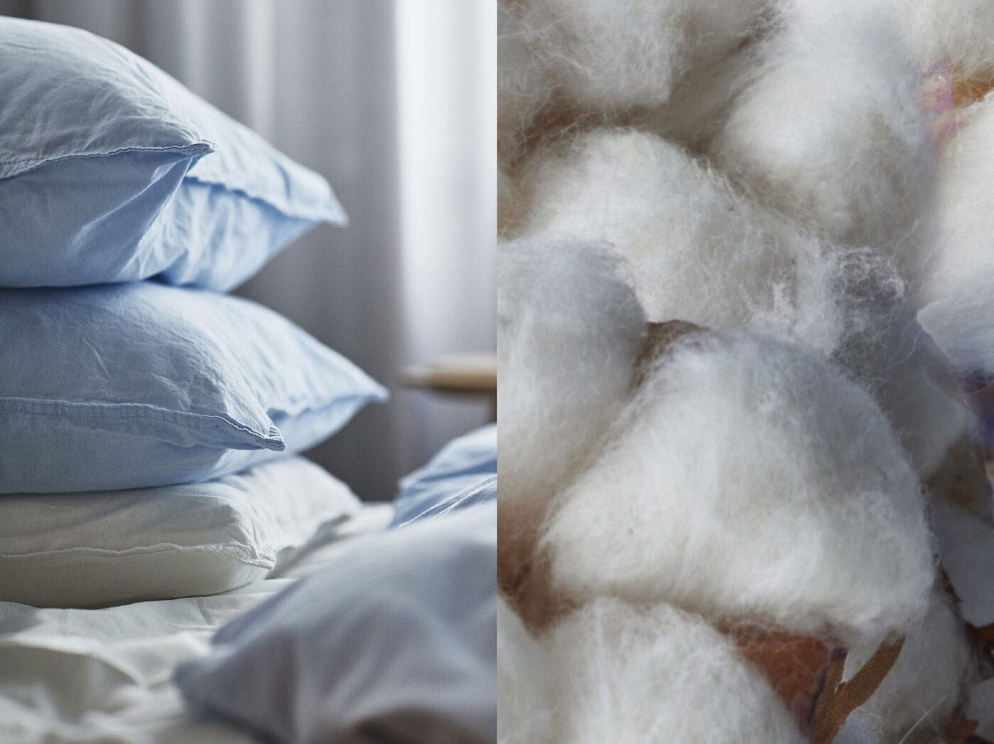 Fotografia s prírodnou bavlnou a poťahmi na vankúše IKEA, ktoré sú vyrobené z udržateľnej bavlny.
