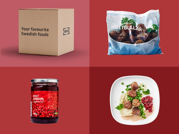 Four food items with red background.