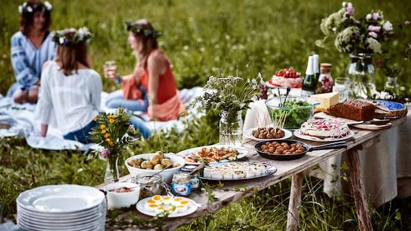 Frauen sitzen auf einer Wiese und feiern das schwedische Sommerfest Midsommar